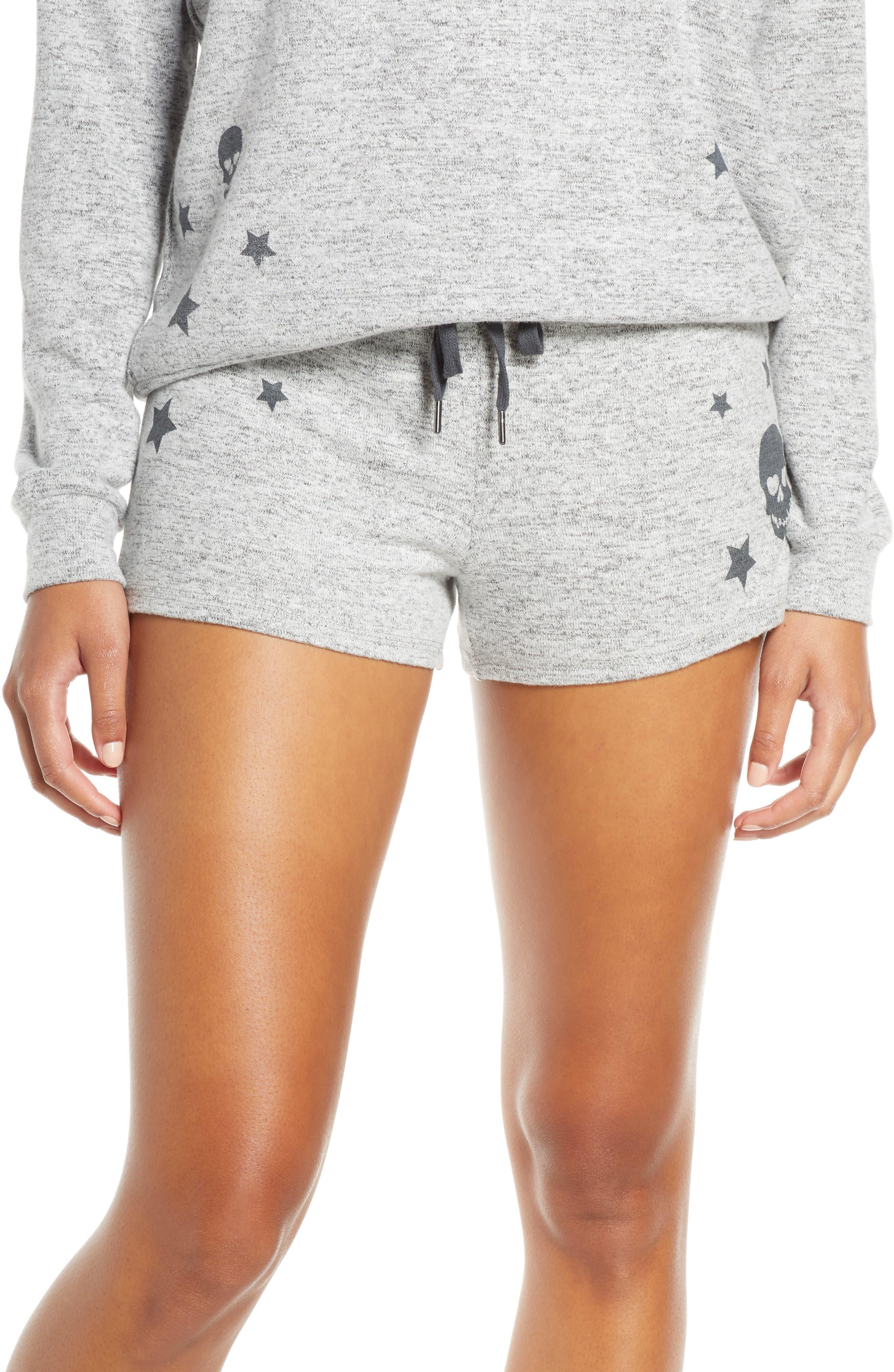Pj Salvage Stars & Skulls Pajama Shorts, Grey