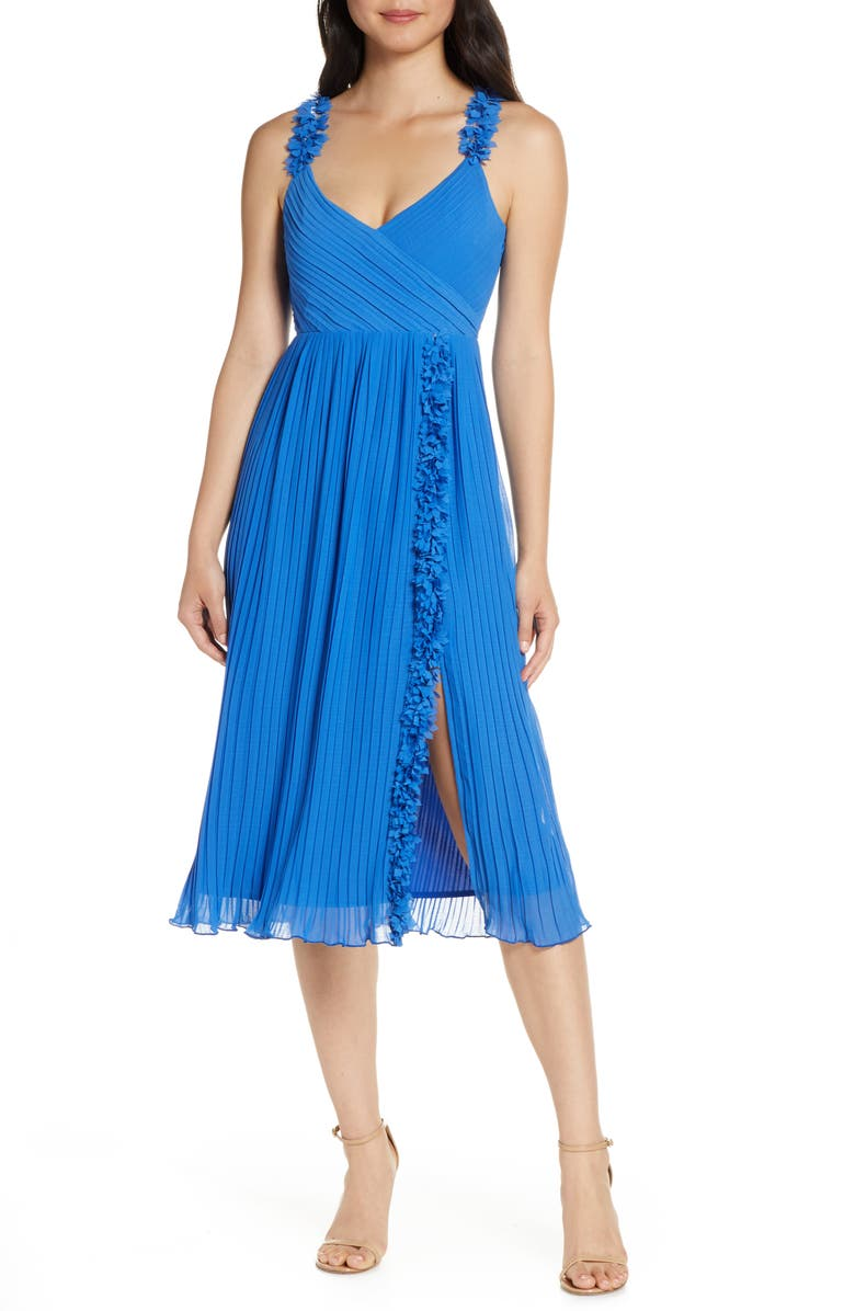 FOXIEDOX Pleated Front Slit Cocktail Dress, Main, color, SAPPHIRE