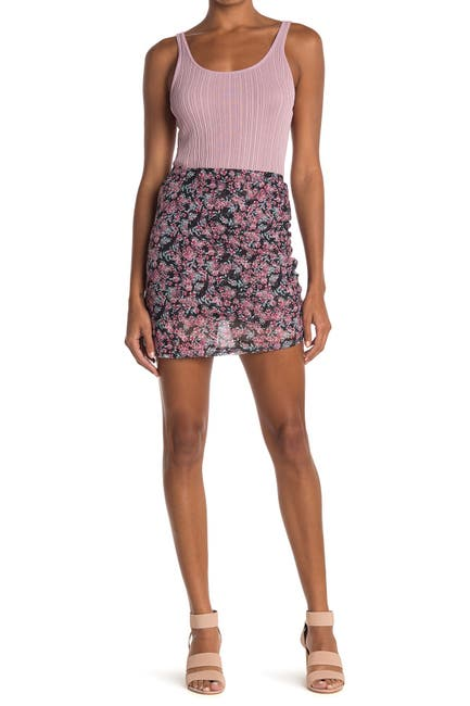 Image of Socialite Ruched Mesh Mini Skirt