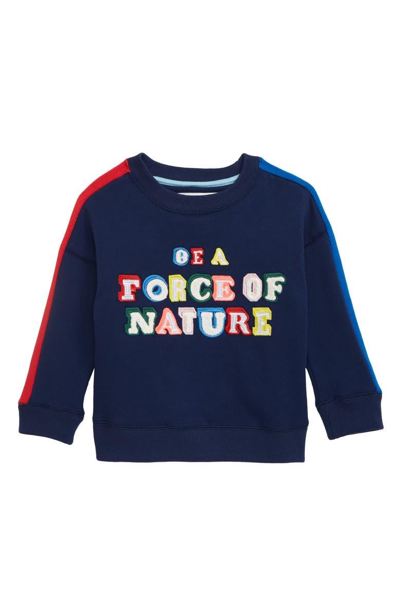MINI BODEN Rainbow Graphic Sweatshirt, Main, color, COLLEGE NAVY