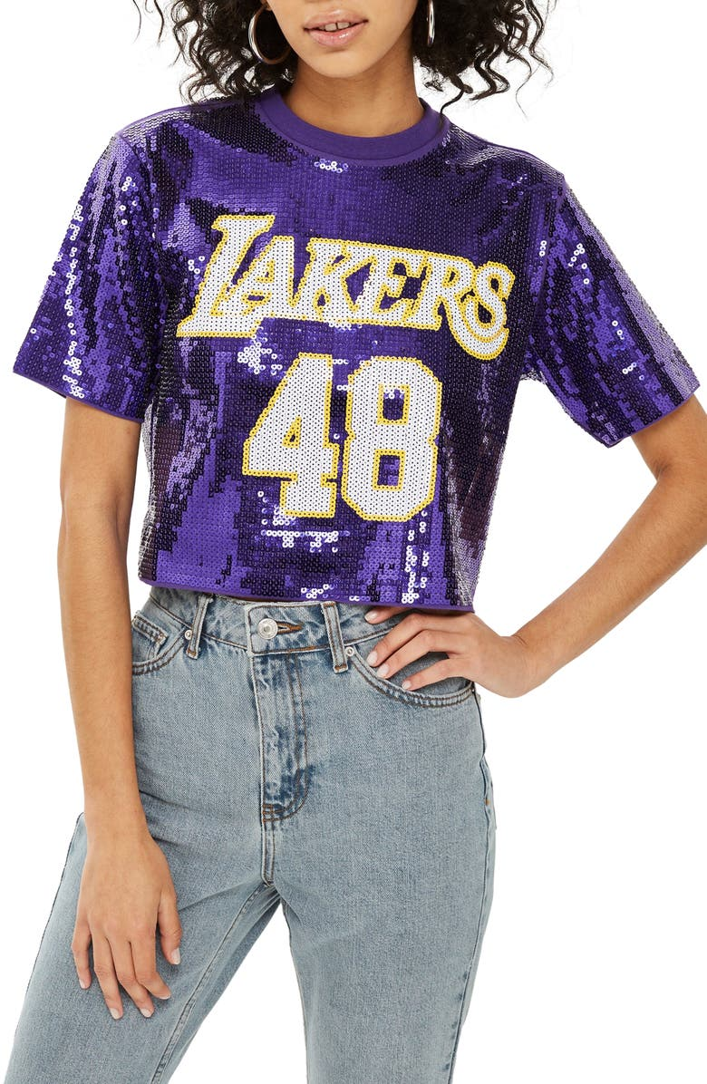 X Unk Lakers Sequin Crop Top by Topshop