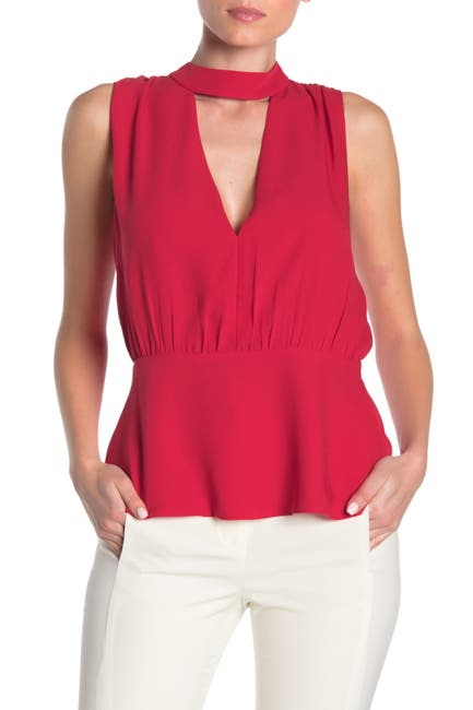 Image of BCBGMAXAZRIA Mock Neck Draped Top