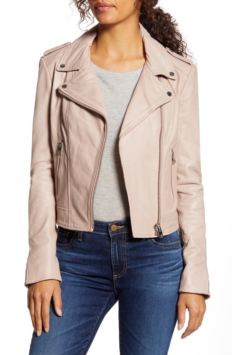 LAMARQUE Donna Lambskin Leather Moto Jacket, Main, color, FRENCH PINK