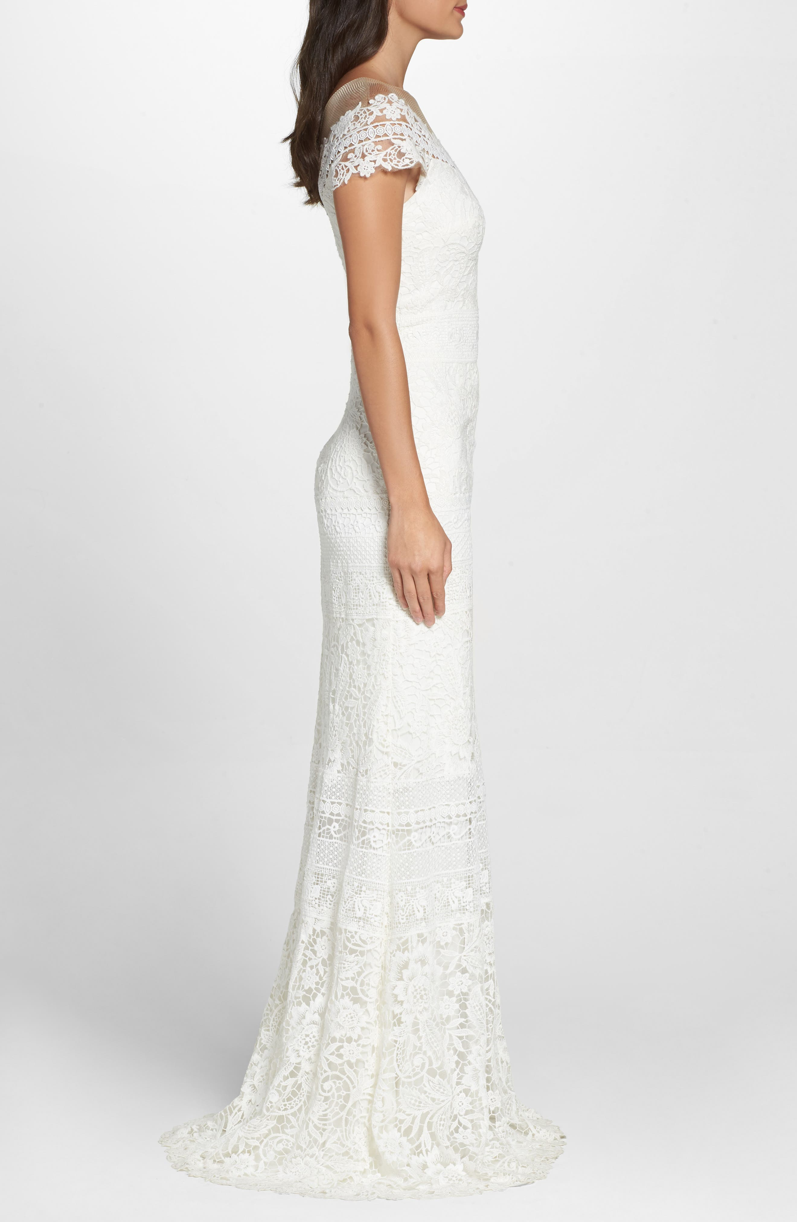 ,                             Off the Shoulder Illusion Lace Gown,                             Alternate thumbnail 3, color,                             IVORY