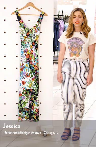Molly Girl Print Sable Satin Mermaid Dress, sales video thumbnail