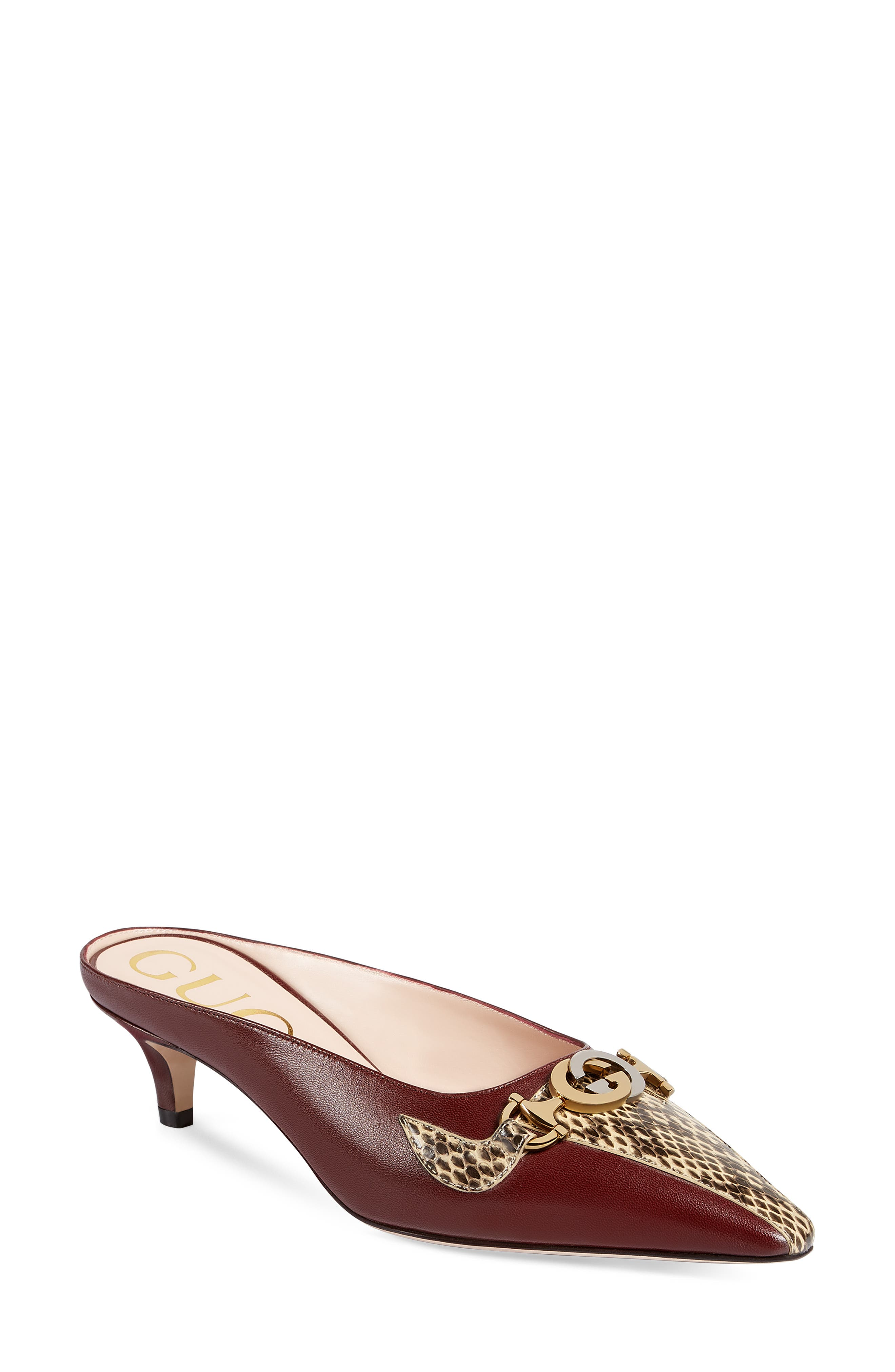 Gucci Zumi Leather & Genuine Snakeskin Pointy Toe Mule, Burgundy