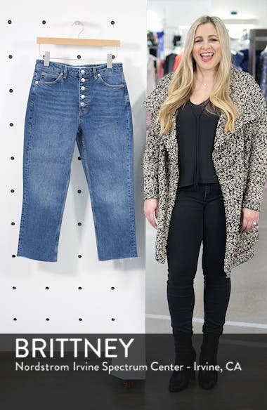 High Waist Raw Hem Straight Leg Jeans, sales video thumbnail