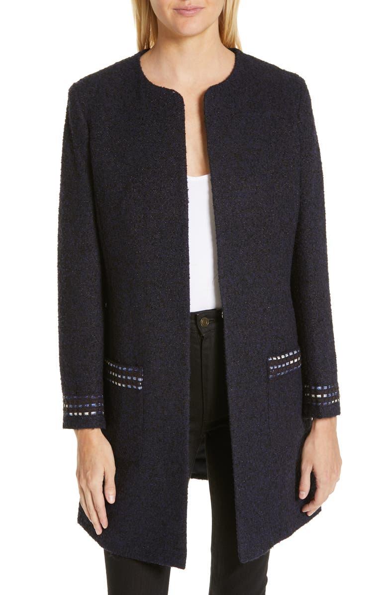 HELENE BERMAN Long Tweed Jacket, Main, color, 400