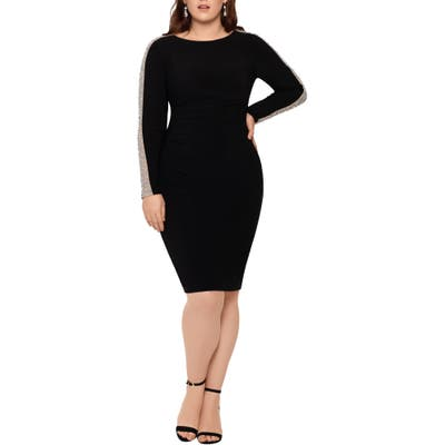 Plus Size Xscape Caviar Bead Long Sleeve Body-Con Dress, Black