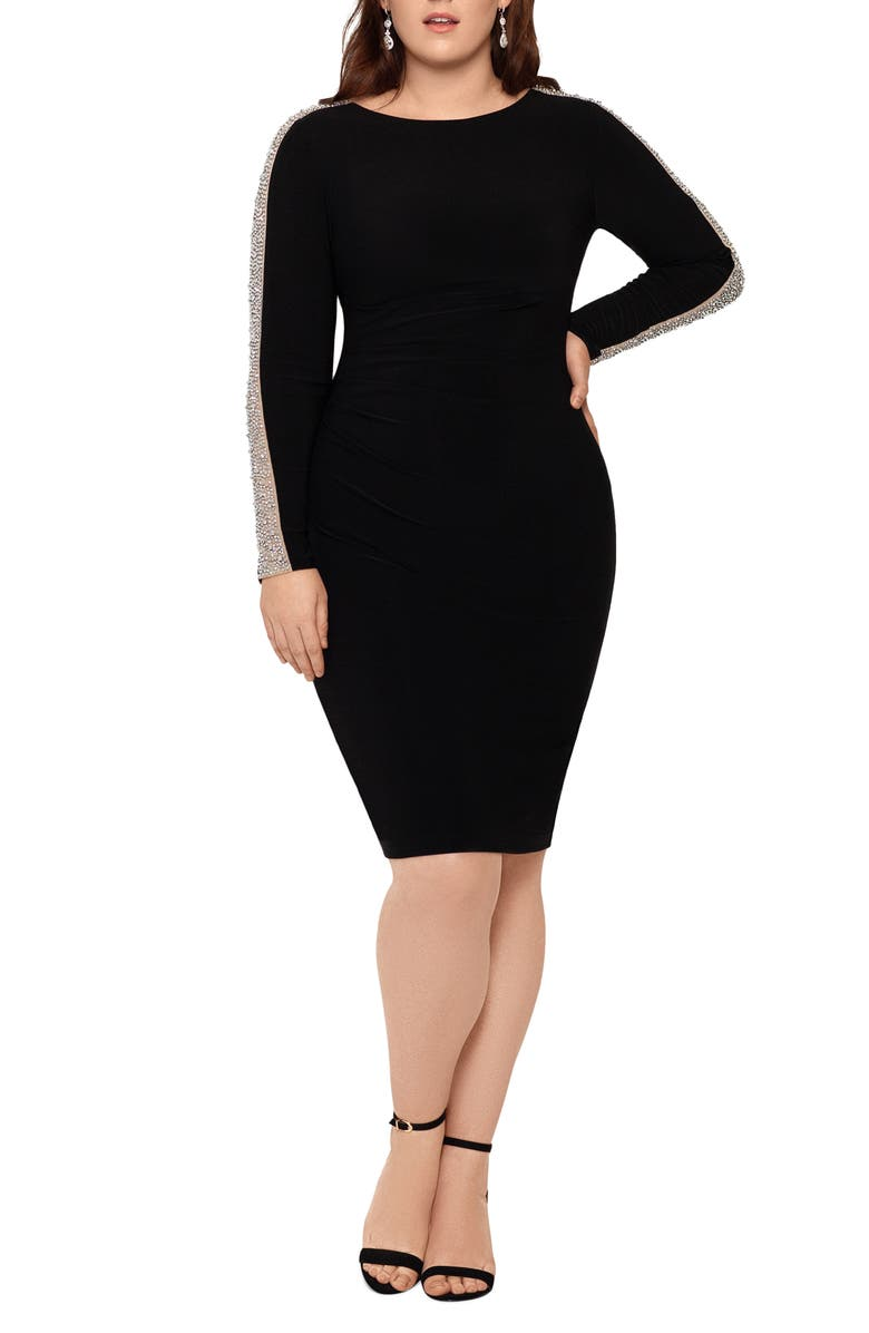 XSCAPE Caviar Bead Long Sleeve Body-Con Dress, Main, color, BLACK/ NUDE/ SILVER