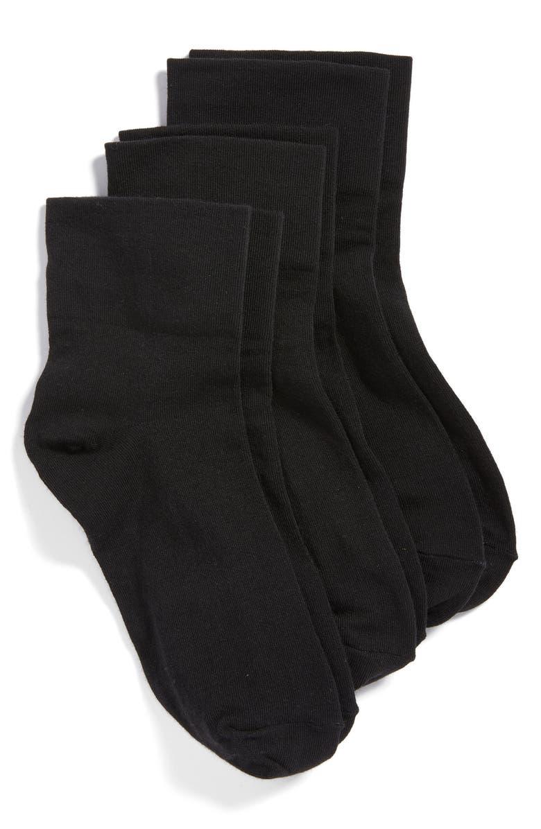 HUE 3-Pack Cotton Blend Crew Socks, Main, color, BLACK