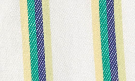 IVORY- BLUE GREEN STRIPE