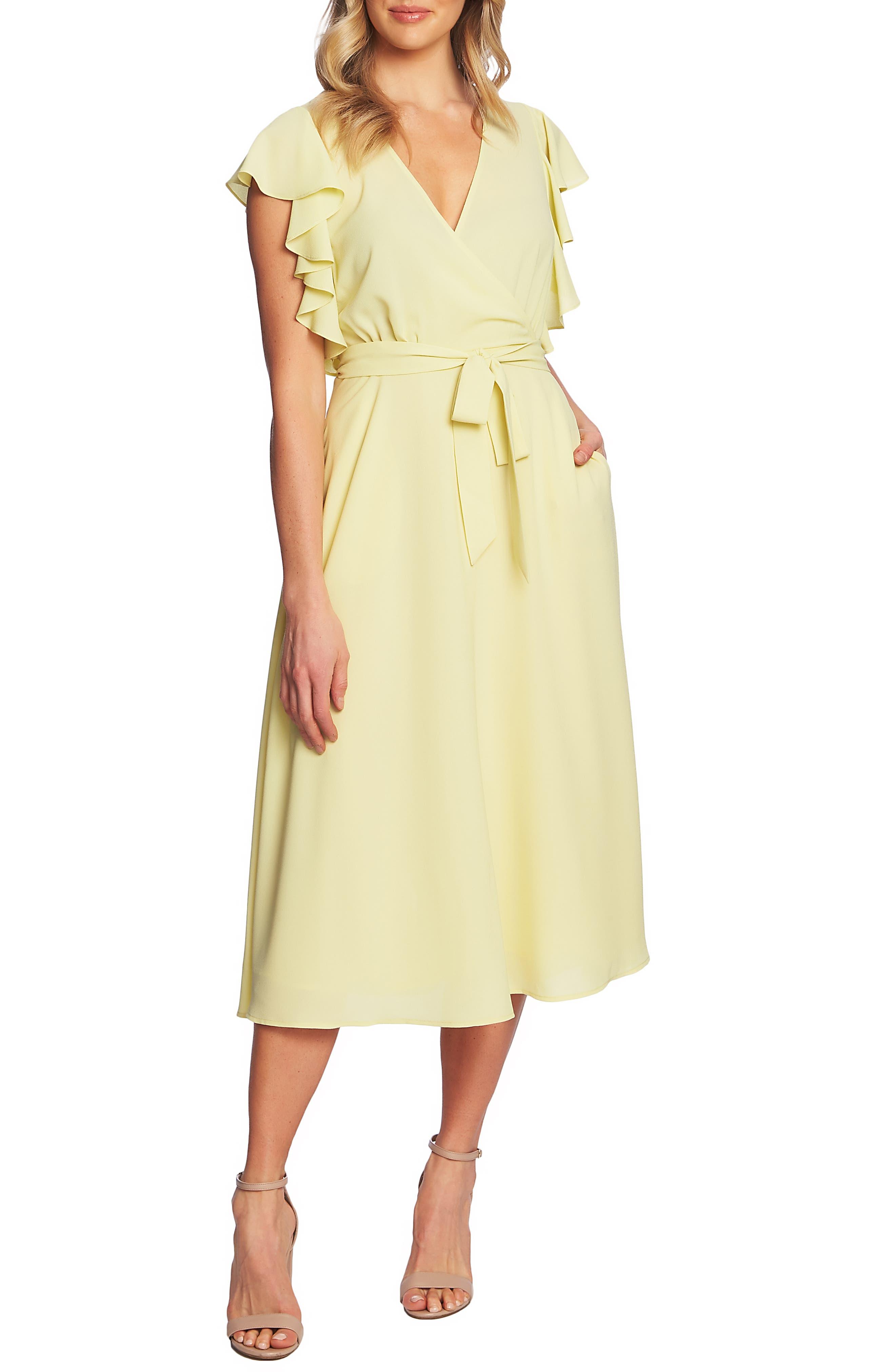 1.state Ruffle Detail Wrap Midi Dress, Yellow