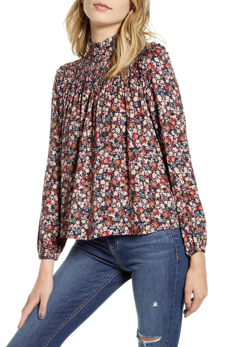 ONE CLOTHING Floral Print Smocked Top, Main, color, 650
