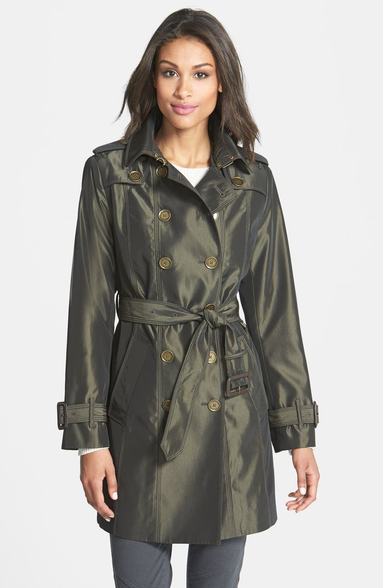 LONDON FOG Iridescent Double Breasted Trench Coat, Main, color, DARK BRONZE