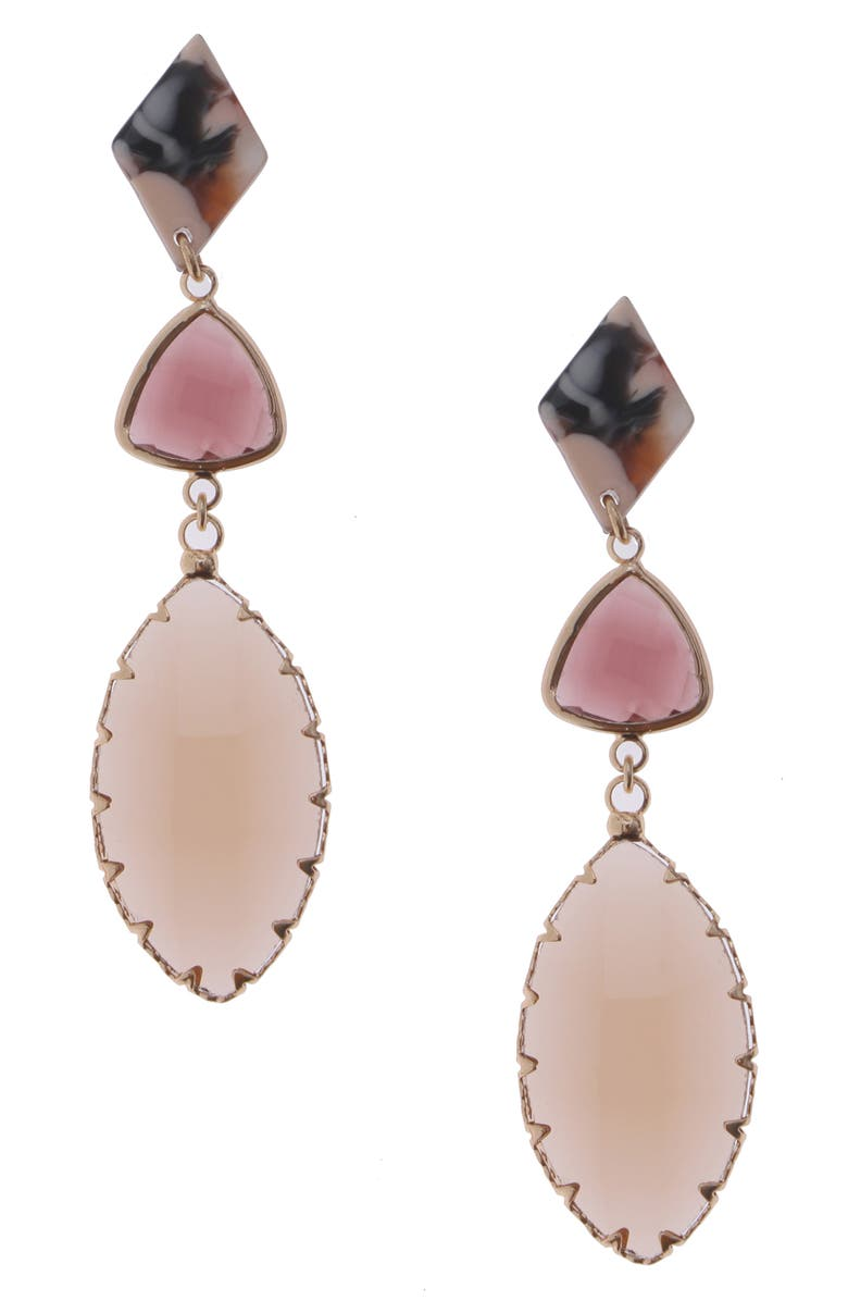 NAKAMOL CHICAGO Glass Drop Earrings, Main, color, PURPLE/ GOLD RESIN