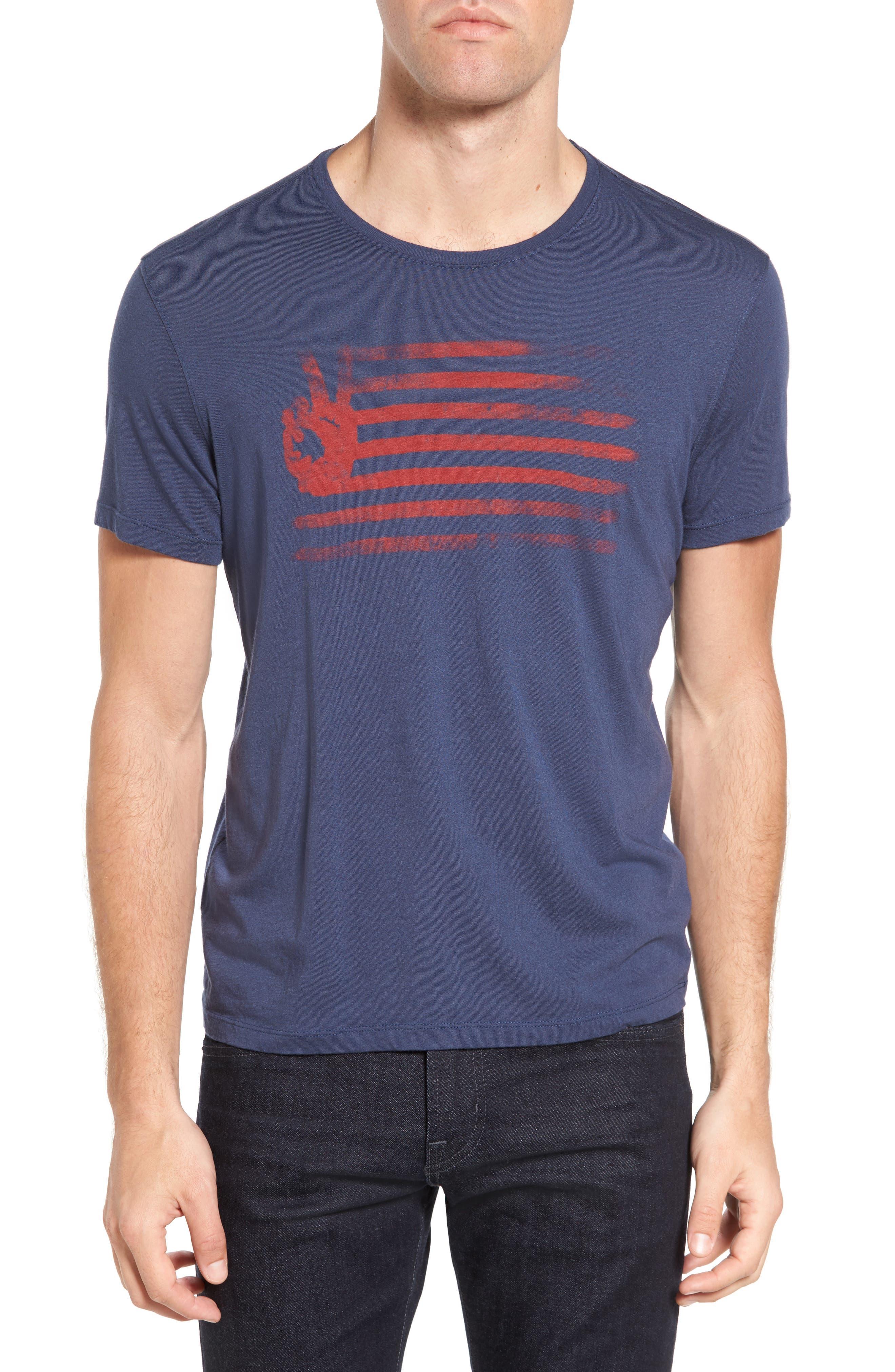 John Varvatos Star USA Mens Short Sleeve Peace Flag Graphic Crew T-Shirt