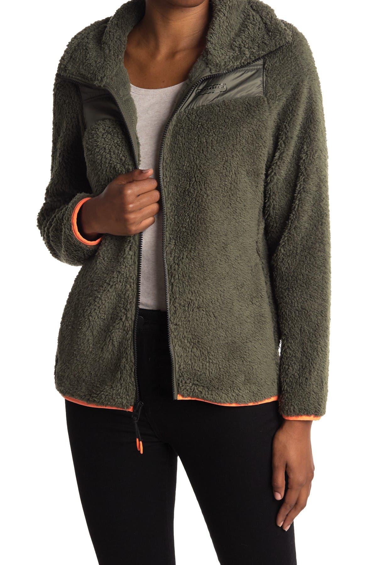 Image of Lucky Brand Faux Shearling Fleece Zip Jacket