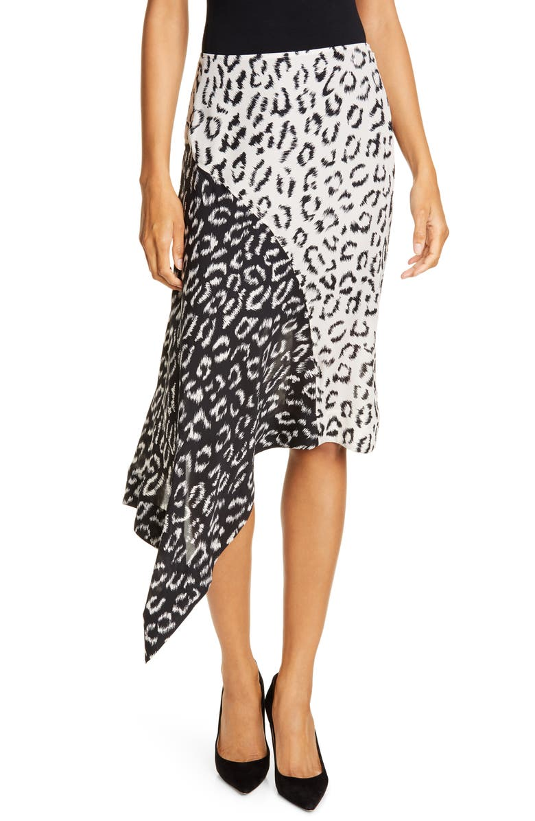 A.L.C. Natalie Leopard Print Asymmetrical Colorblock Skirt, Main, color, BLACK/ CREAM/ MULTI