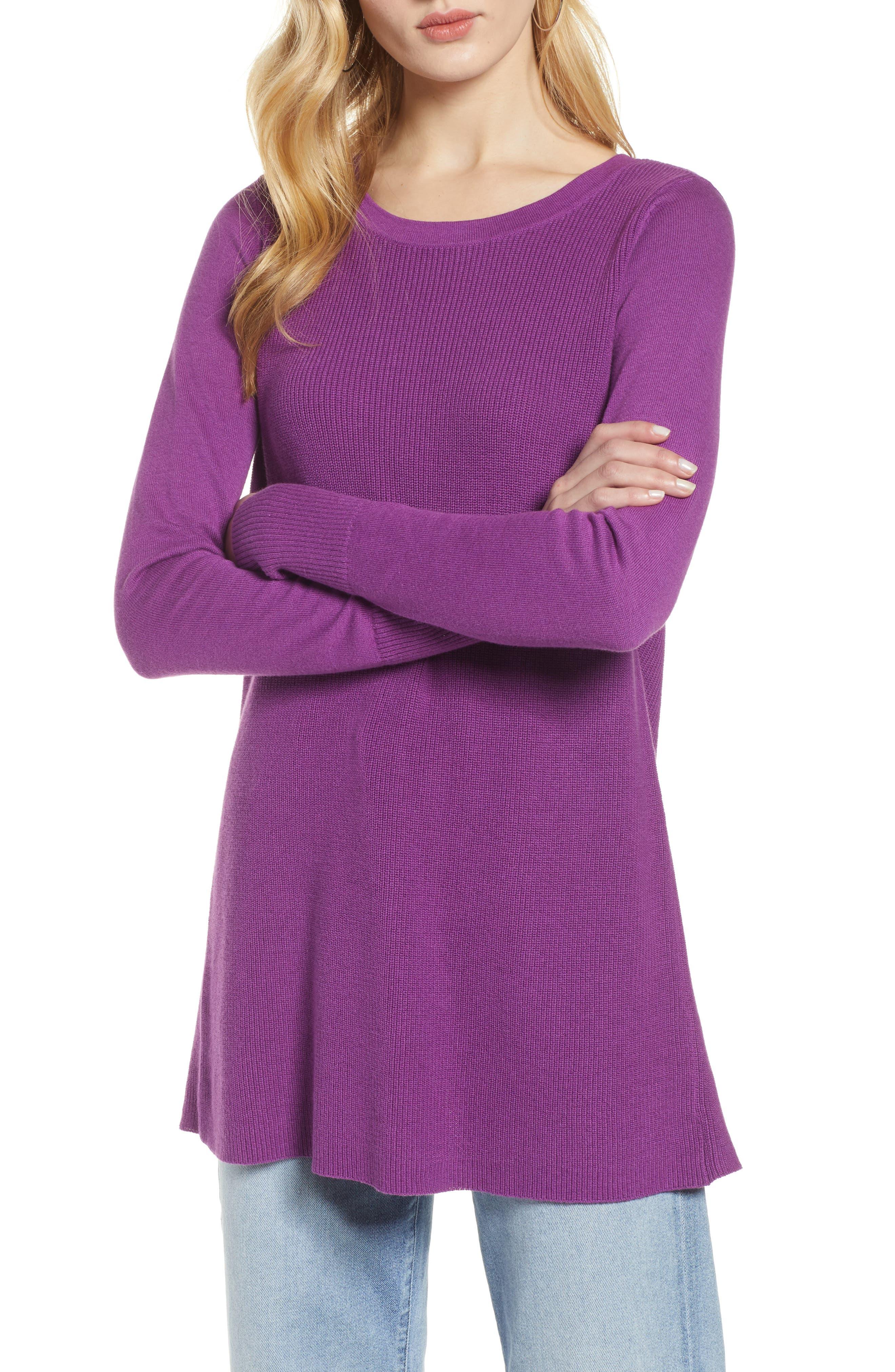 Petite Women's Halogen Split Back Tunic Sweater