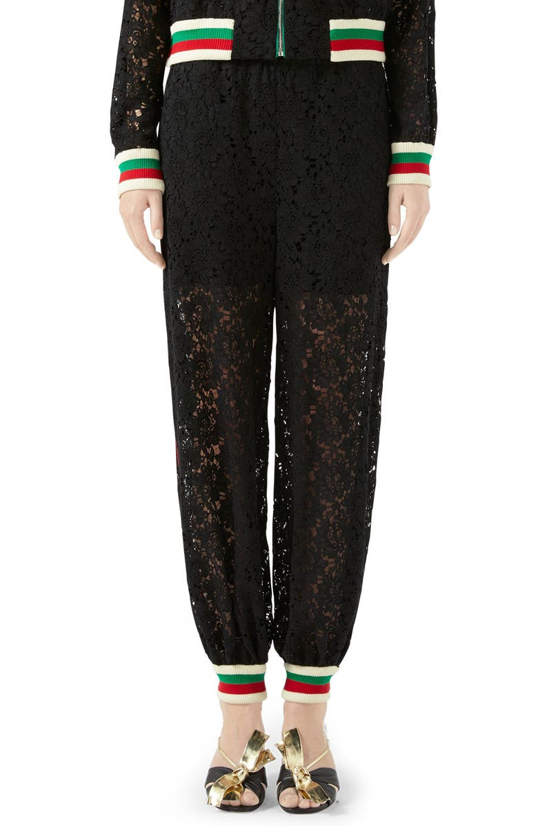 GUCCI Lace Jogger Pants, Main, color, BLACK/ MIX