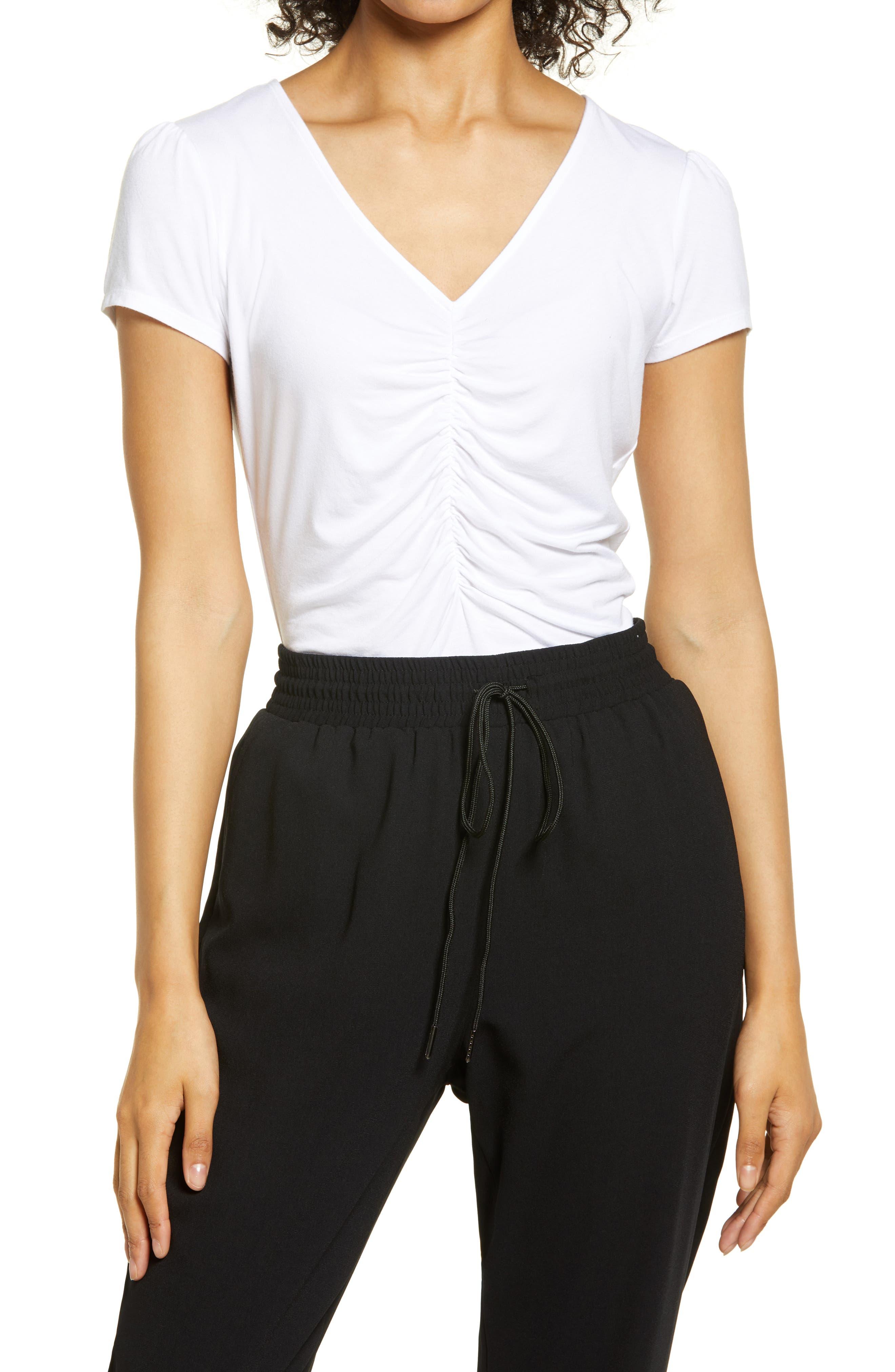 Women's Halogen Cinched V-Neck T-Shirt
