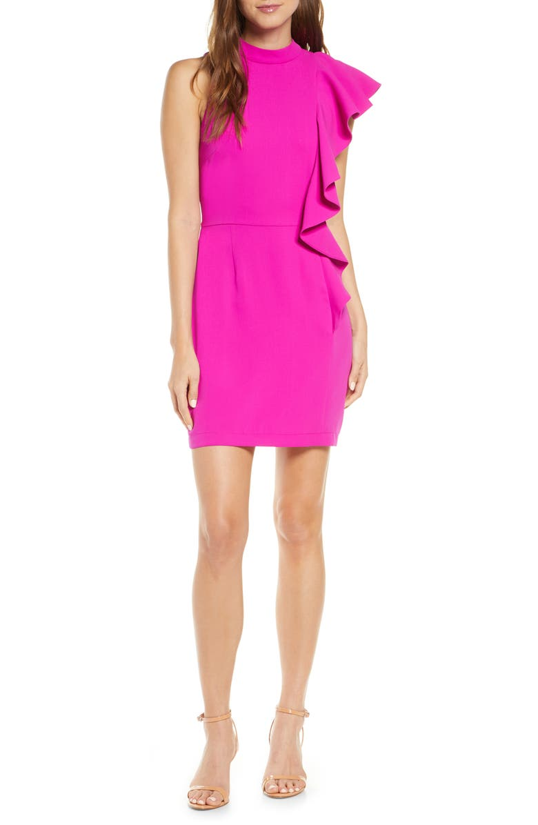 ADELYN RAE Katerina Side Ruffle Sleeveless Cocktail Dress, Main, color, FUCHSIA