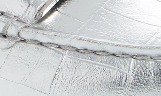 SILVER CROCO EMBOSSED LEATHER