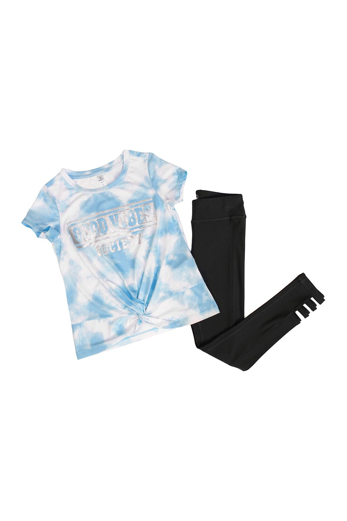 Image of 90 Degree By Reflex Twist Front Short Sleeve Top & Cut Out Legging Set