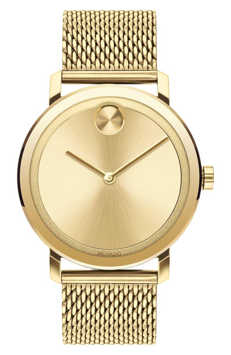 MOVADO Bold Evolution Mesh Bracelet Watch, 40mm, Main, color, GOLD