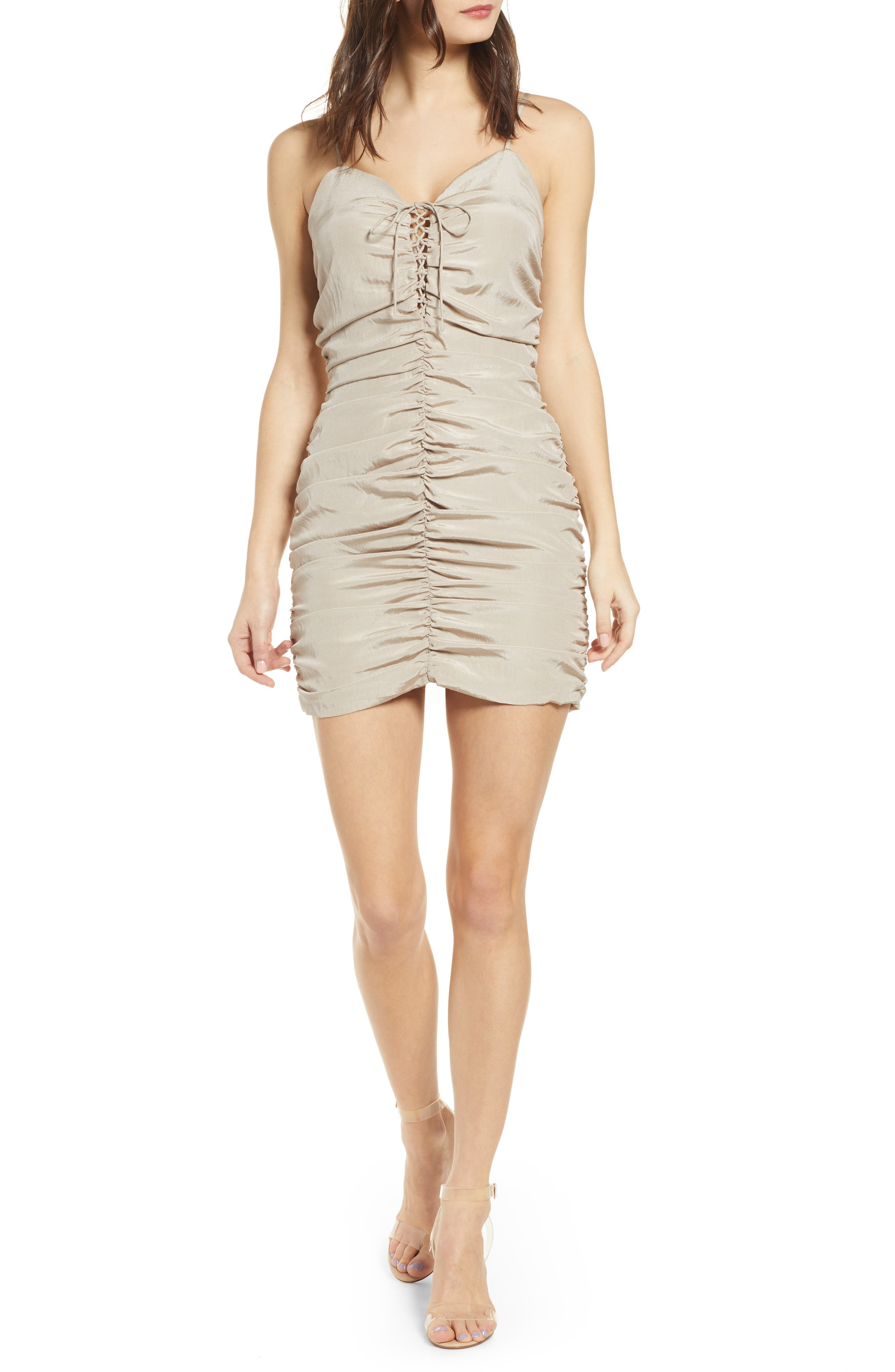 J.o.a. Lace-Up Ruched Dress, Beige