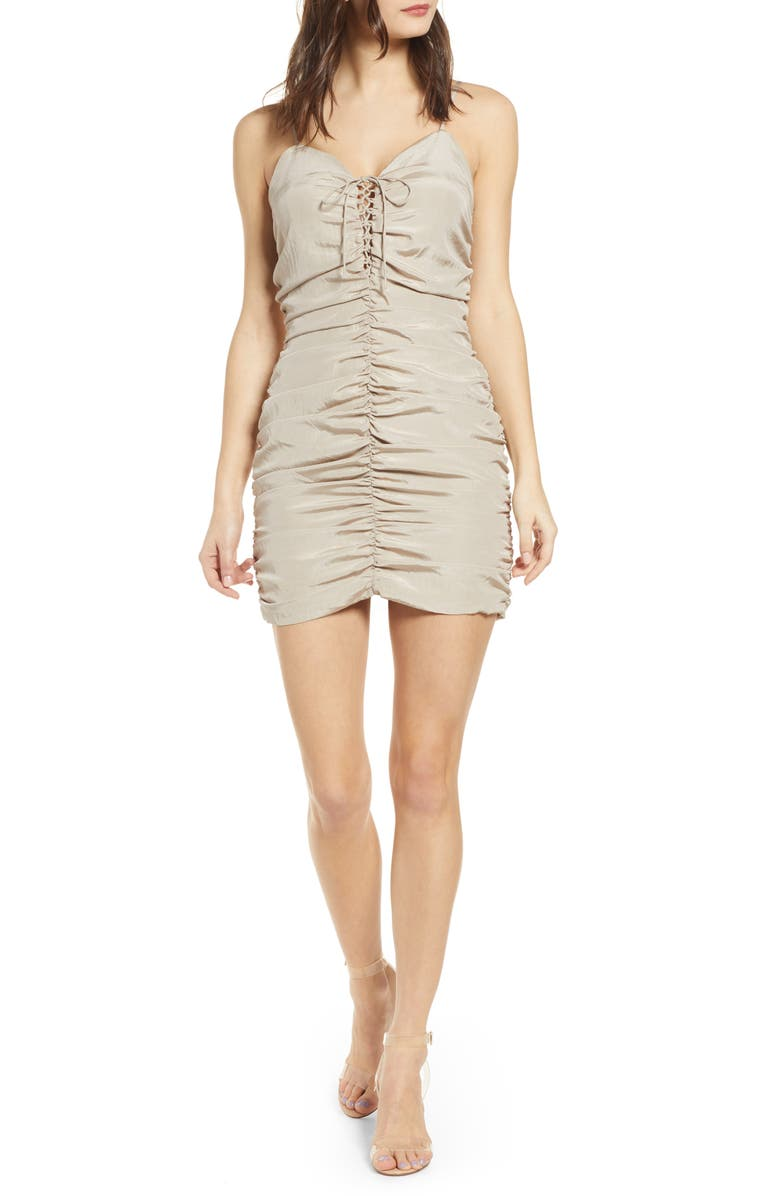 J.O.A. Lace-Up Ruched Dress, Main, color, 270