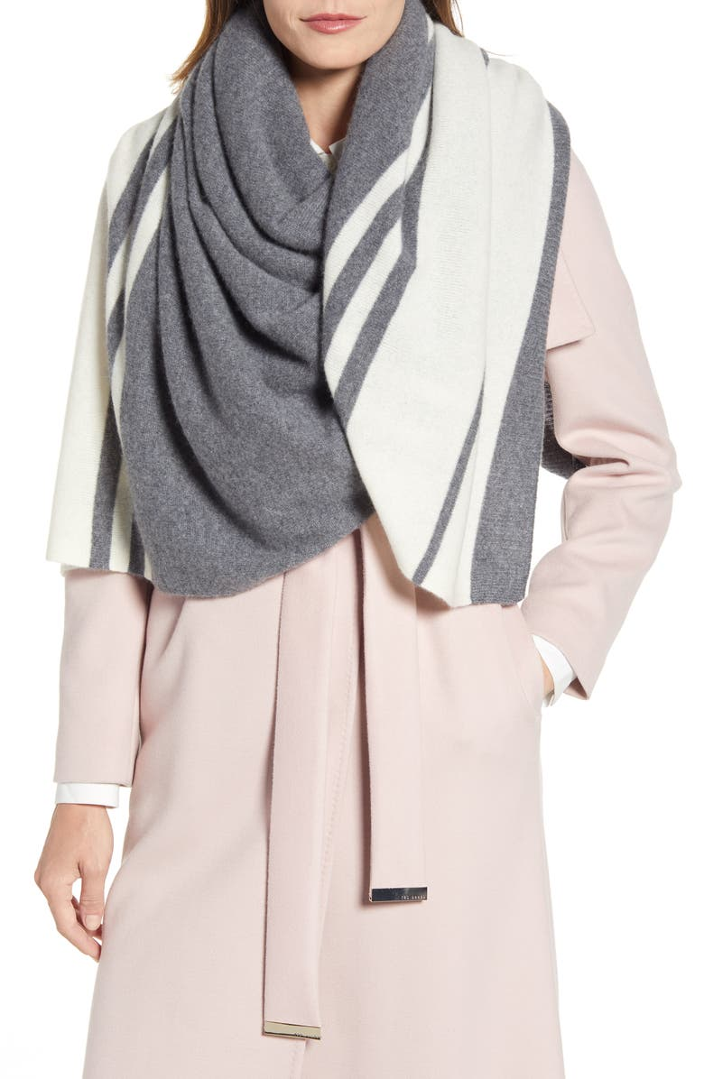 HALOGEN<SUP>®</SUP> Stripe Cashmere Scarf, Main, color, GREY COMBO