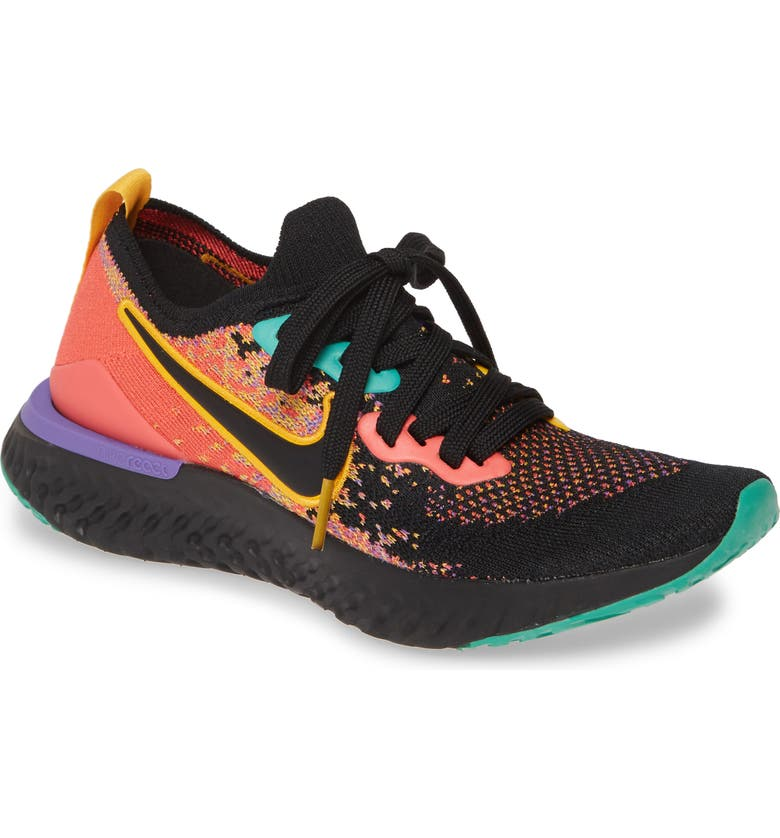 NIKE Epic React Flyknit 2 Running Shoe, Main, color, BLACK/ BLACK/ EMBER GLOW/ GOLD