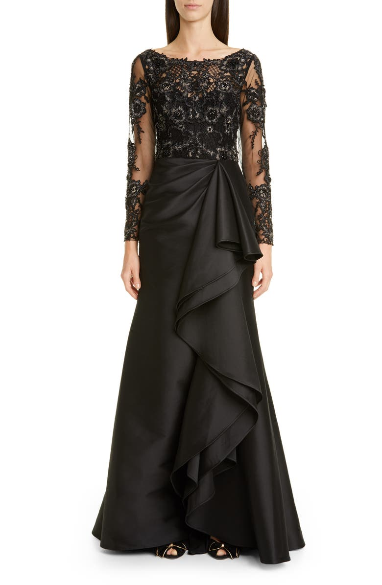 BADGLEY MISCHKA COUTURE. Badgley Mischka Couture Long Sleeve Embellished Lace & Satin Gown, Main, color, BLACK