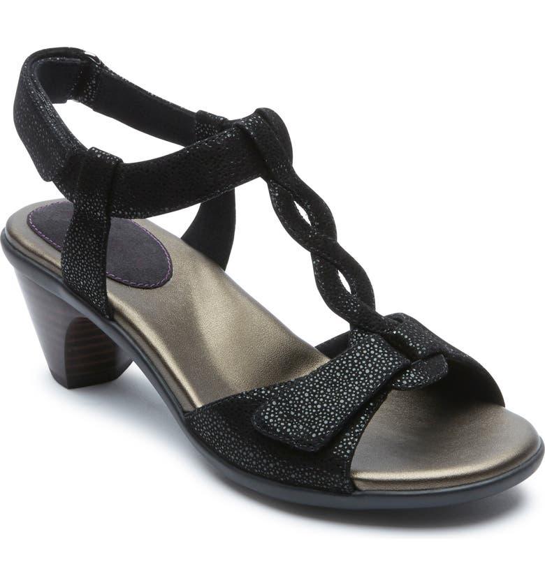 ARAVON Medici T-Strap Sandal, Main, color, BLACK LEATHER