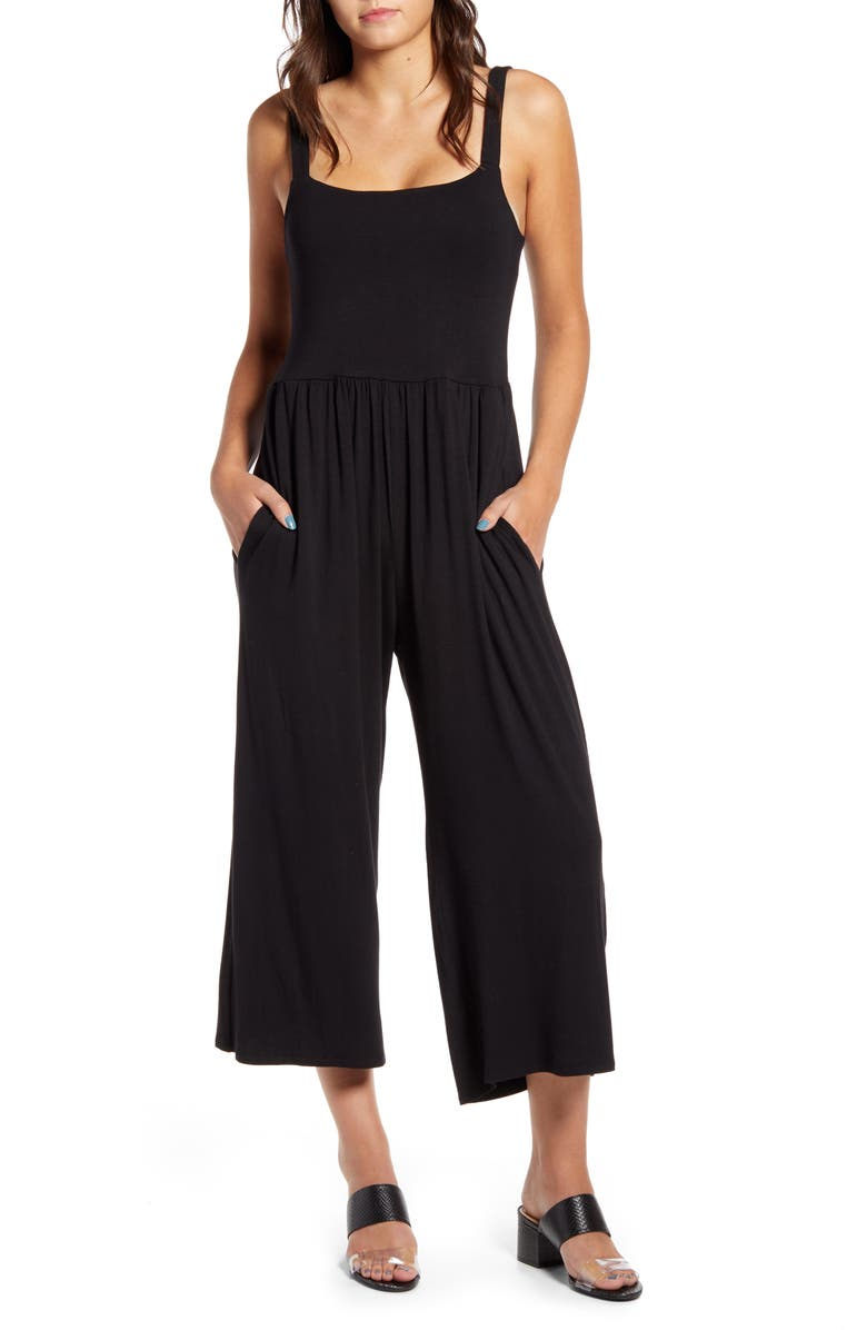 COTTON EMPORIUM Wide Leg Crop Jumpsuit, Main, color, BLACK