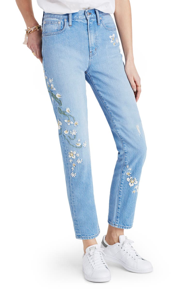 MADEWELL Perfect Summer High Waist Embroidered Jeans, Main, color, 400