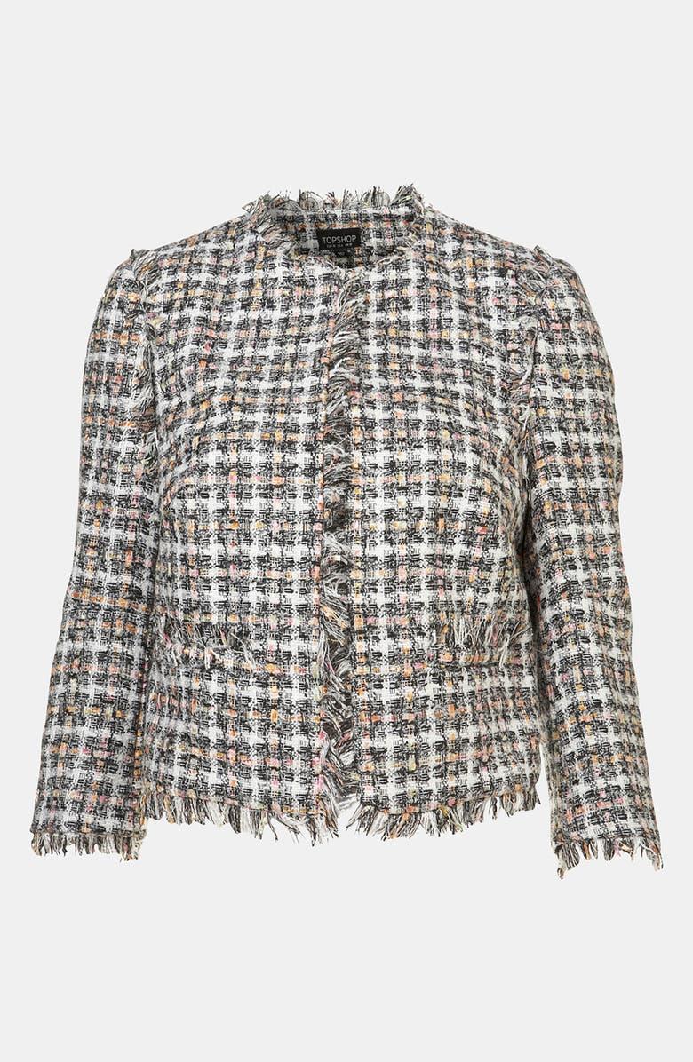 TOPSHOP Frayed Bouclé Jacket, Main, color, 004