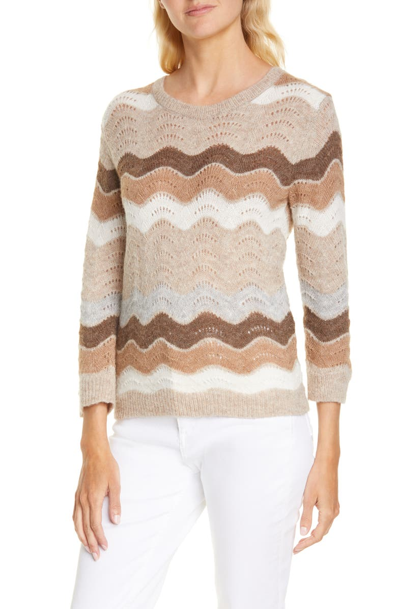 LOVESHACKFANCY Ariella Zigzag Alpaca & Wool Blend Sweater, Main, color, BUTTERFIELD