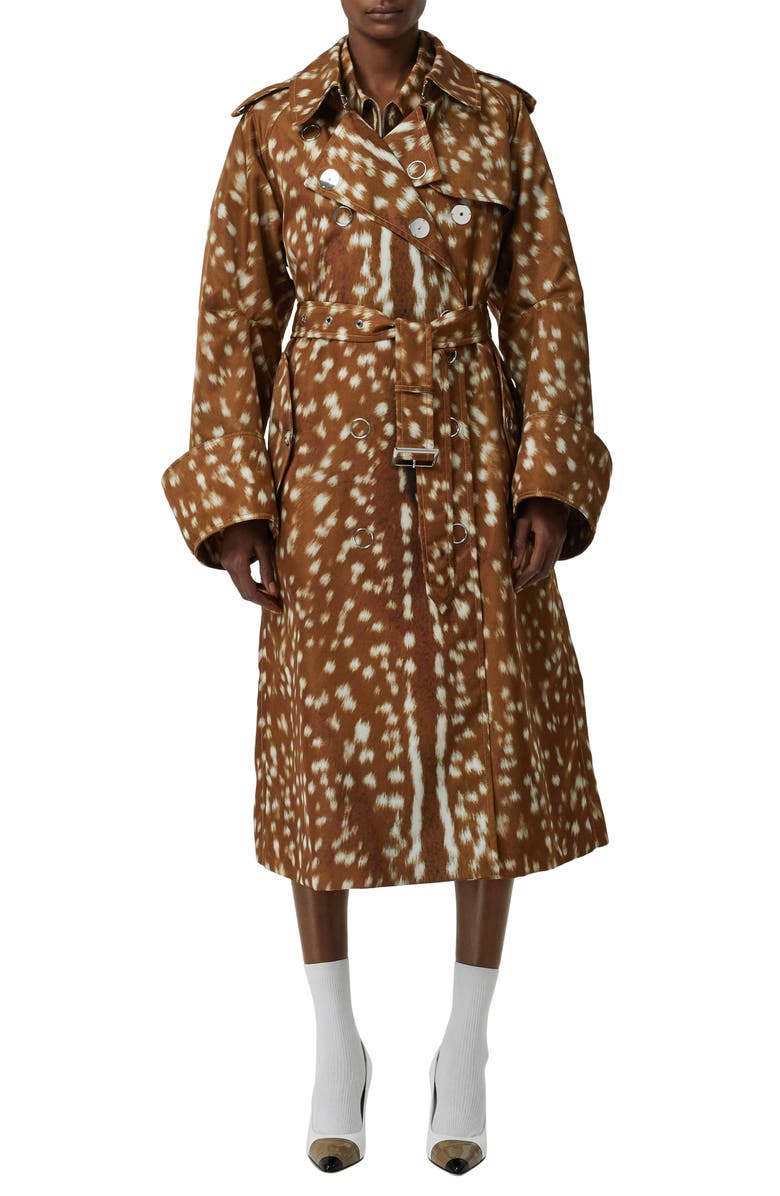 BURBERRY Double Breasted Trench Coat, Main, color, HONEY