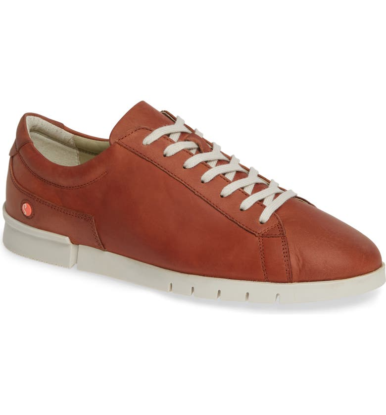 SOFTINOS BY FLY LONDON Cer Low-Top Sneaker, Main, color, COGNAC CORGI LEATHER