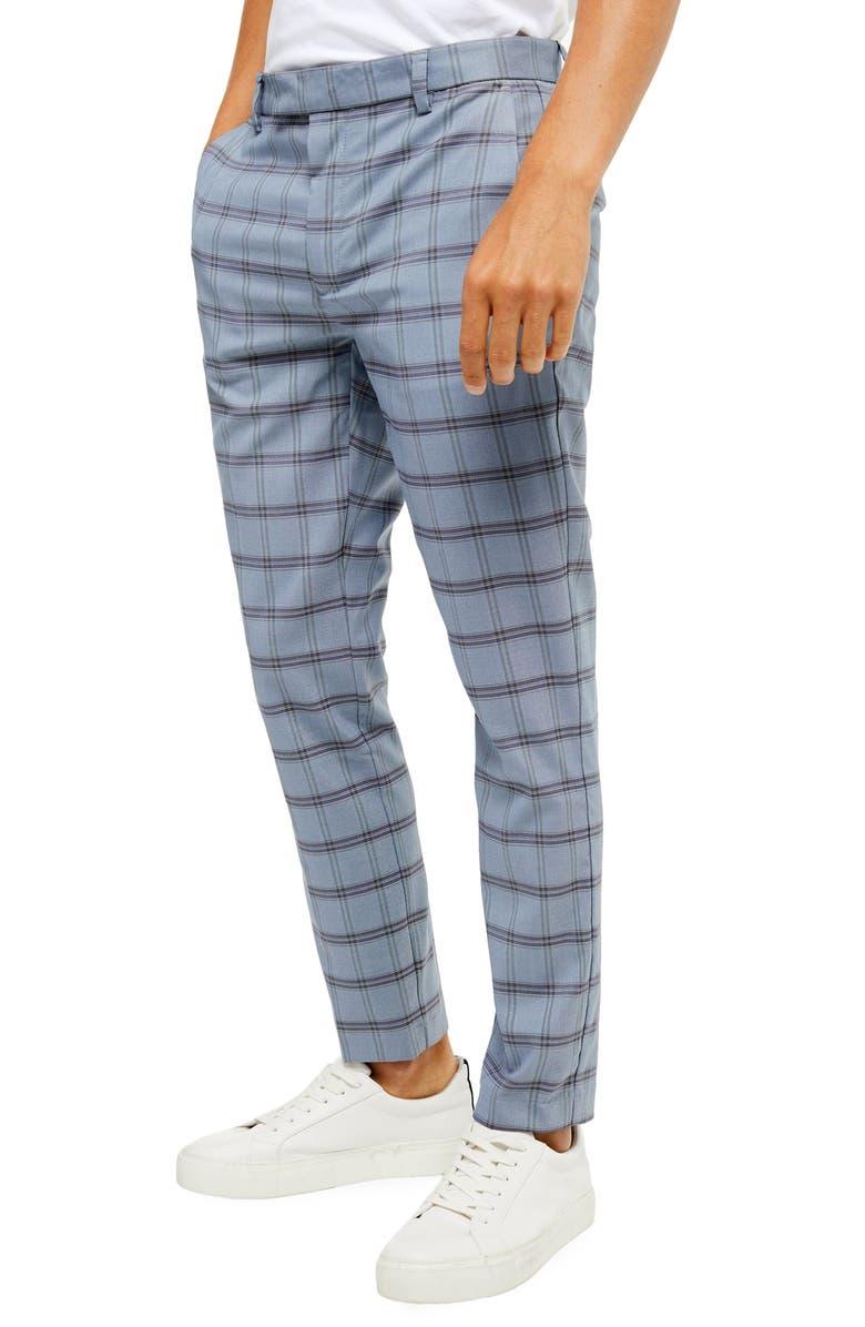 TOPMAN Violets Check Skinny Fit Dress Pants, Main, color, 400