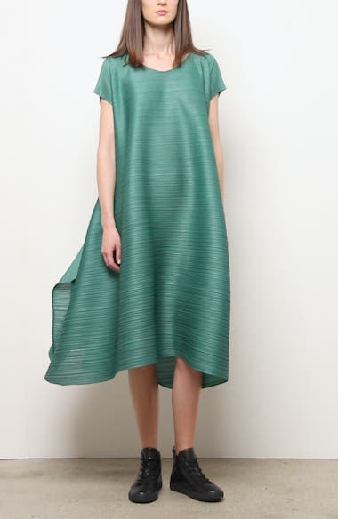 Pleated Cinched Midi Dress, video thumbnail