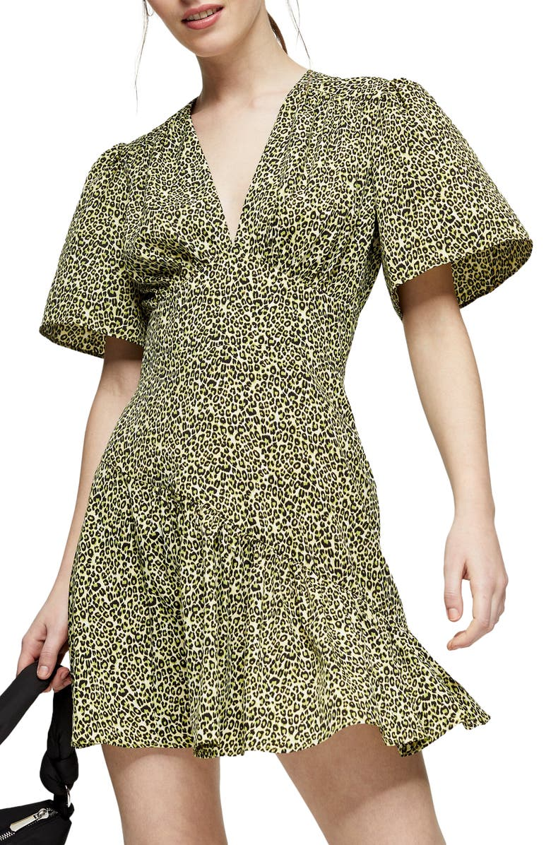 TOPSHOP Flutter Sleeve Leopard Print Minidress, Main, color, LIME