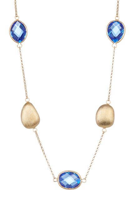 Image of Rivka Friedman 18K Gold Clad Poppy Crystal & Pebble Station Necklace
