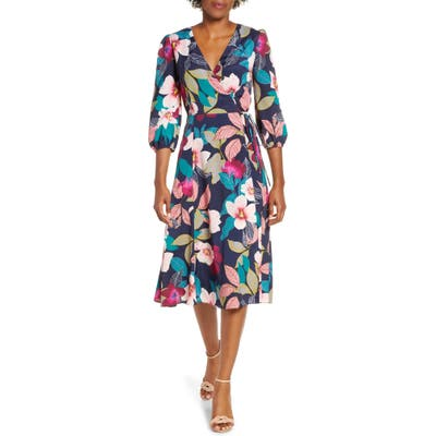 Petite Eliza J Floral Print Faux Wrap Dress, Blue