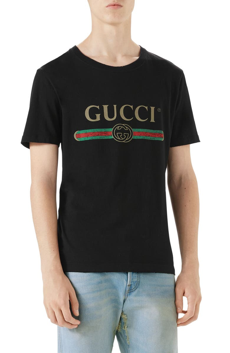 GUCCI Logo Graphic T-Shirt, Main, color, BLACK