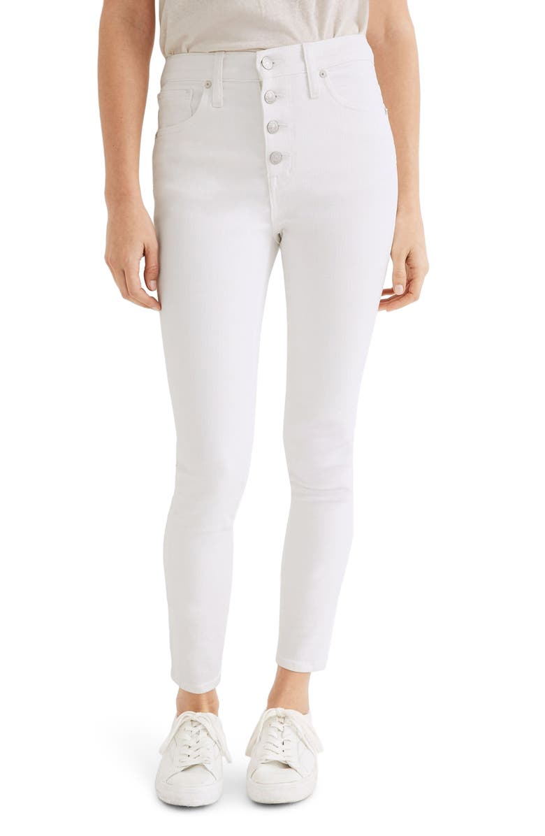 MADEWELL 10-Inch High Waist Crop Skinny Jeans, Main, color, PURE WHITE