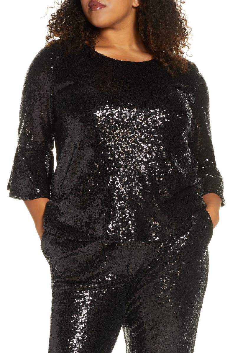 GIBSON x Glam Living in Yellow Bell Sleeve Sequin Top, Main, color, 001